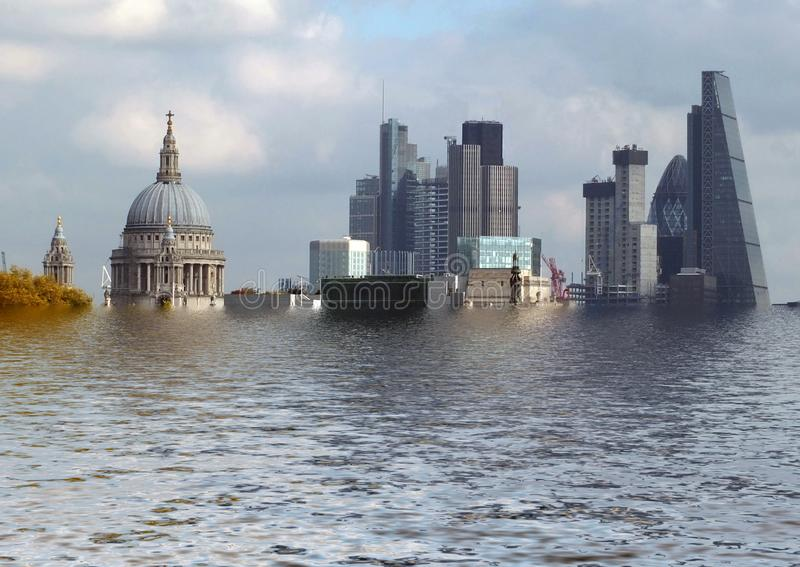 A manipulated conceptual image of the city of london with historic buildings flooded due to global warming and rising sea levels. Manipulated conceptual image of royalty free stock image