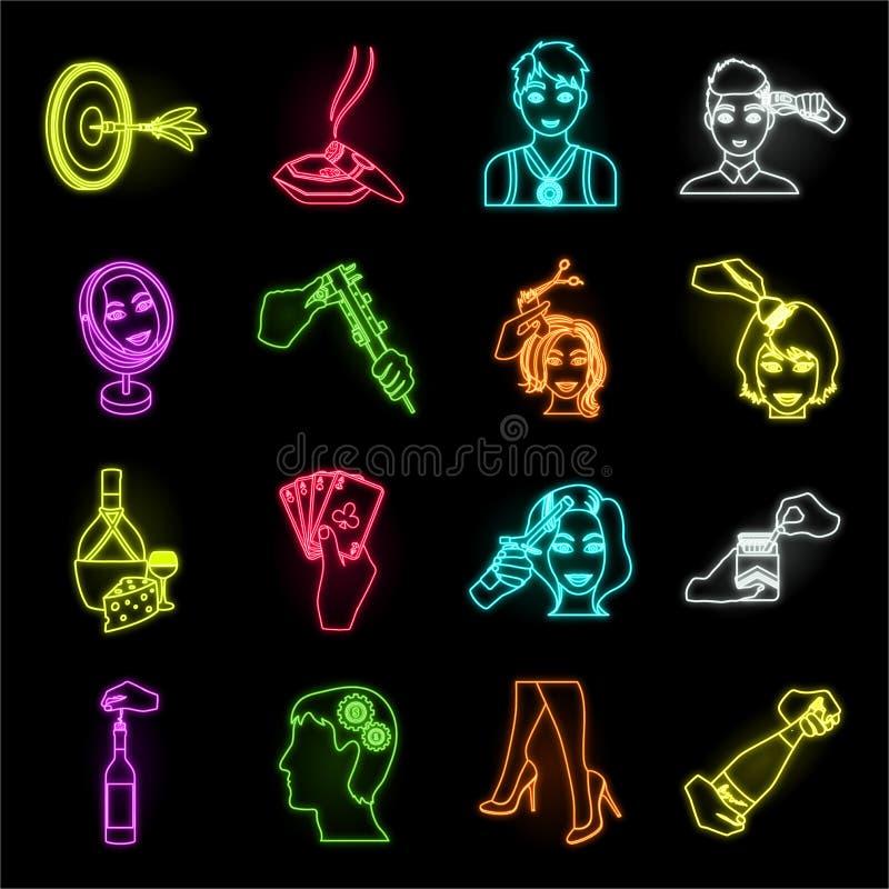 Manipulatie door de pictogrammen van het handenneon in vastgestelde inzameling voor ontwerp Van de het symboolvoorraad van de han stock illustratie
