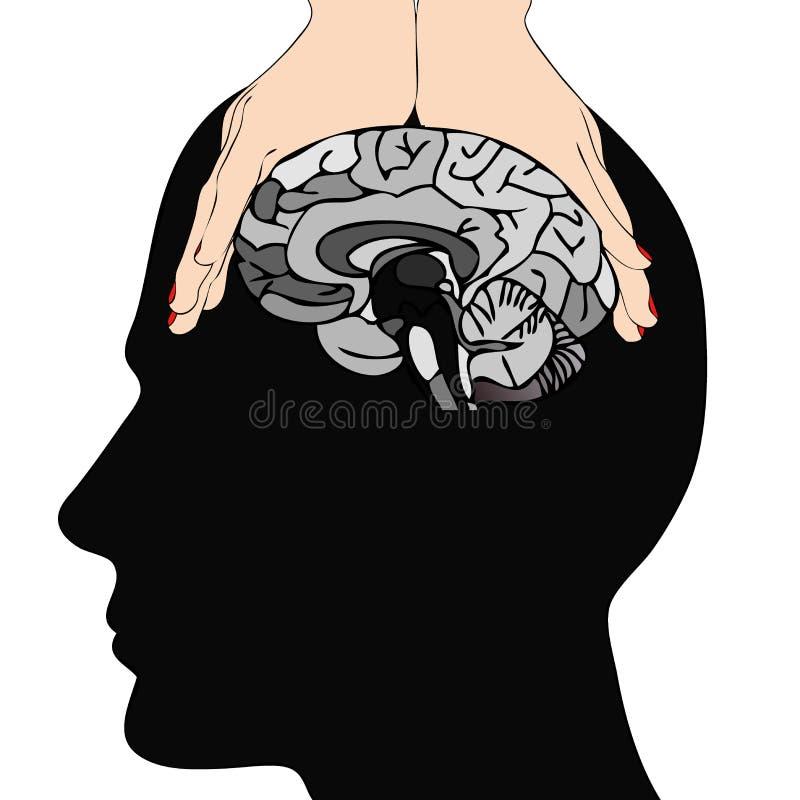 Manipulation. Symbolic image of the manipulation of a man`s brain vector illustration