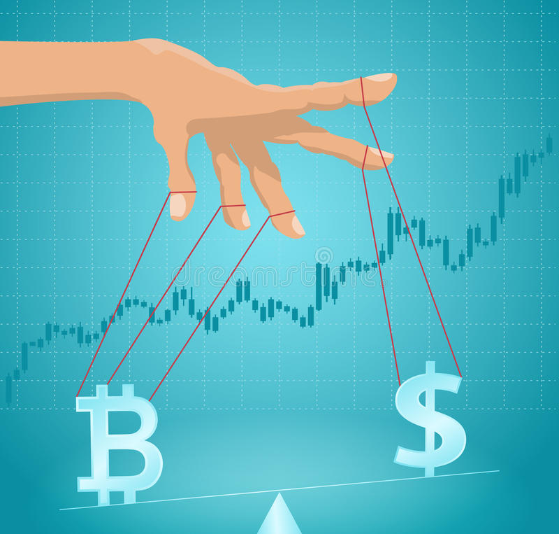 Manipulation of the bitcoin value. Financial metaphor vector illustration
