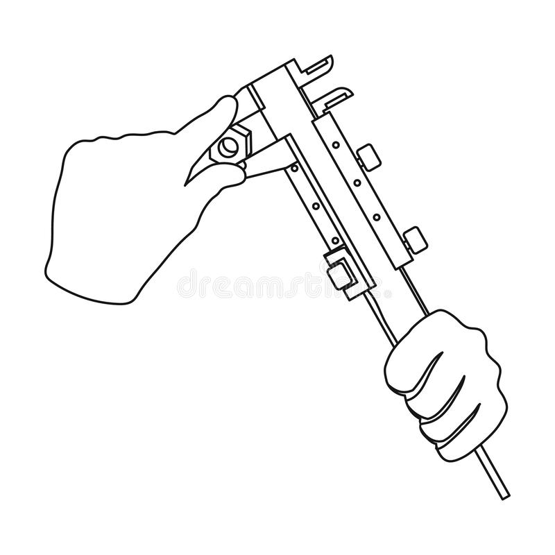 Manipulation with calipers. Measuring instrument, caliper in outline style vector symbol stock illustration royalty free illustration