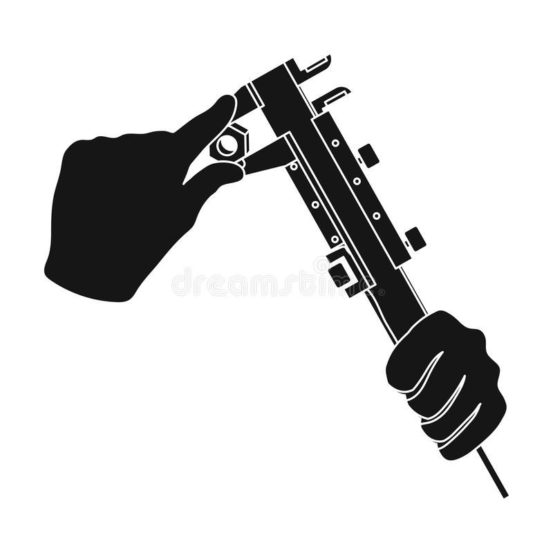 Manipulation with calipers. Measuring instrument, caliper single icon in black style vector symbol stock illustration royalty free illustration