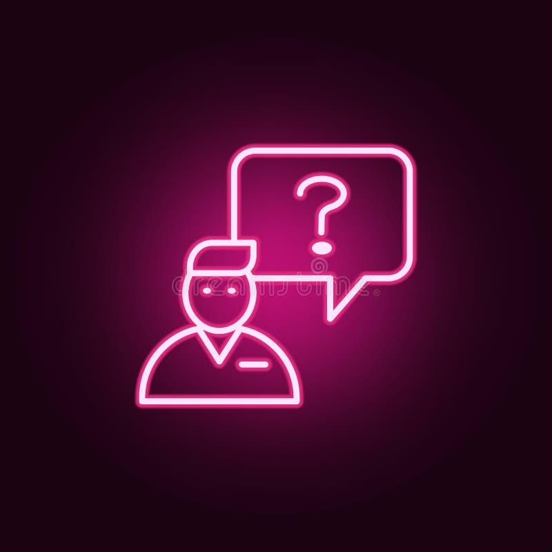 manipulation d'une icône de question Éléments d'entrevue dans les icônes au néon de style E illustration libre de droits