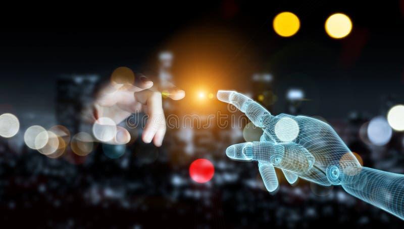 Manipulation de la main d'un robot filaire en contact avec la main d'un humain sur un rendu 3D sombre photos libres de droits