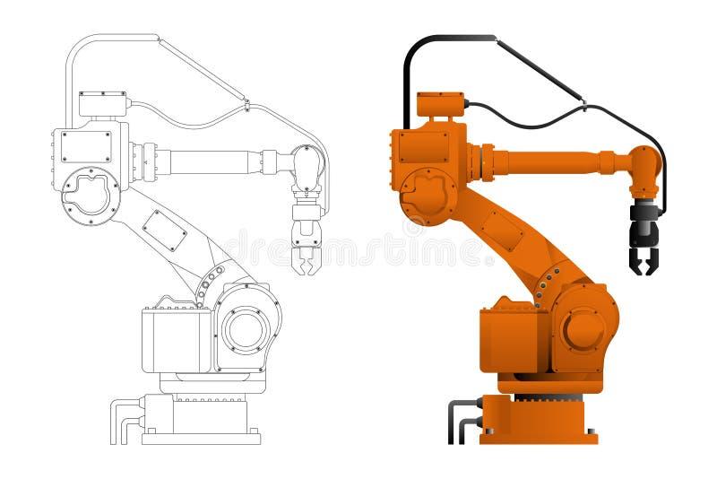 Manipulation du robot dans le dessin et la conception illustration de vecteur