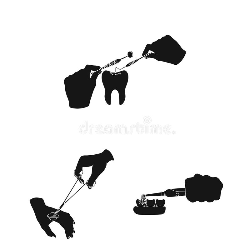 Manipulation by hands black icons in set collection for design. Hand movement in medicine vector symbol stock web. Manipulation by hands black icons in set royalty free illustration