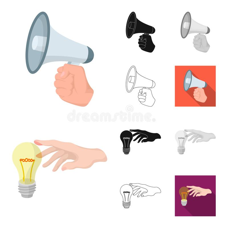 Manipulation by hands cartoon,black,flat,monochrome,outline icons in set collection for design. Hand movement vector. Symbol stock illustration royalty free illustration