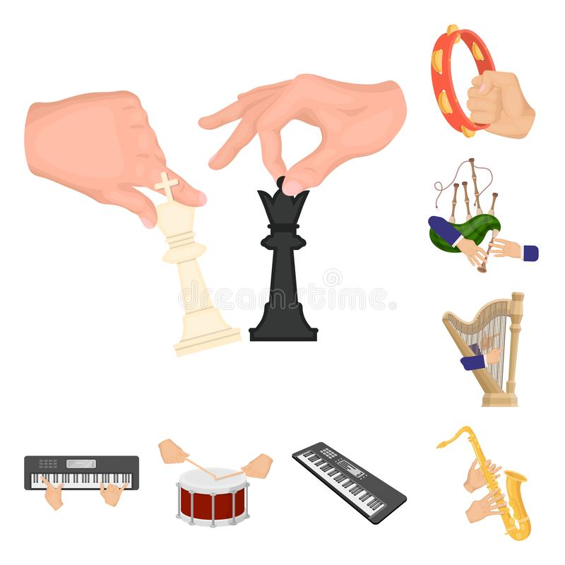Manipulation by hands cartoon icons in set collection for design. Hand movement vector symbol stock web illustration. Manipulation by hands cartoon icons in set stock illustration