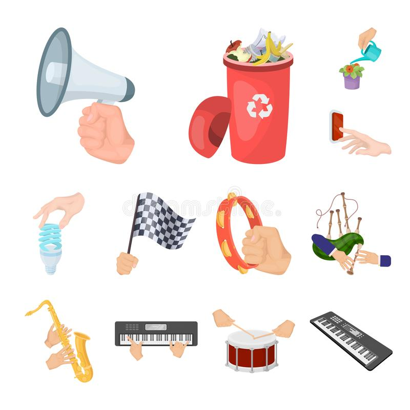 Manipulation by hands cartoon icons in set collection for design. Hand movement vector symbol stock web illustration. Manipulation by hands cartoon icons in set royalty free illustration