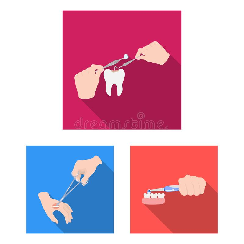 Manipulation by hands flat icons in set collection for design. Hand movement in medicine vector symbol stock web. Manipulation by hands flat icons in set vector illustration