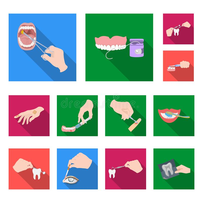 Manipulation by hands flat icons in set collection for design. Hand movement in medicine vector symbol stock web. Manipulation by hands flat icons in set royalty free illustration