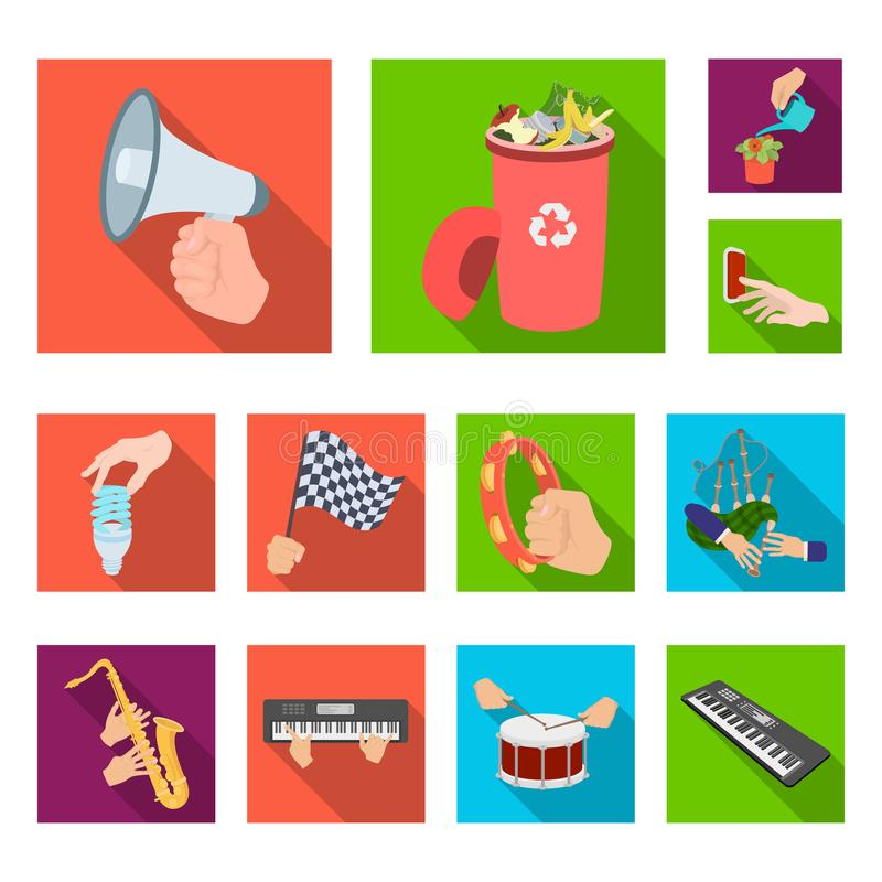 Manipulation by hands flat icons in set collection for design. Hand movement vector symbol stock web illustration. Manipulation by hands flat icons in set stock illustration