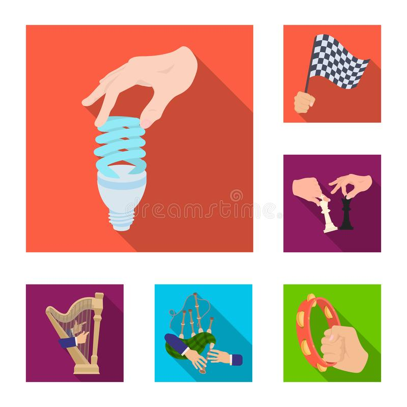 Manipulation by hands flat icons in set collection for design. Hand movement vector symbol stock web illustration. Manipulation by hands flat icons in set royalty free illustration