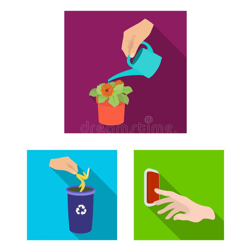 Manipulation by hands flat icons in set collection for design. Hand movement vector symbol stock web illustration. Manipulation by hands flat icons in set vector illustration