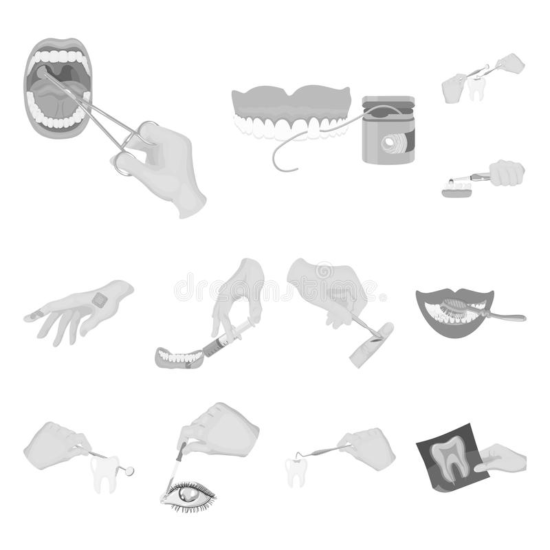 Manipulation by hands monochrome icons in set collection for design. Hand movement in medicine vector symbol stock web. Manipulation by hands monochrome icons in vector illustration