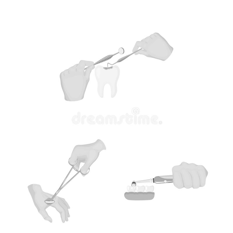 Manipulation by hands monochrome icons in set collection for design. Hand movement in medicine vector symbol stock web. Manipulation by hands monochrome icons in royalty free illustration