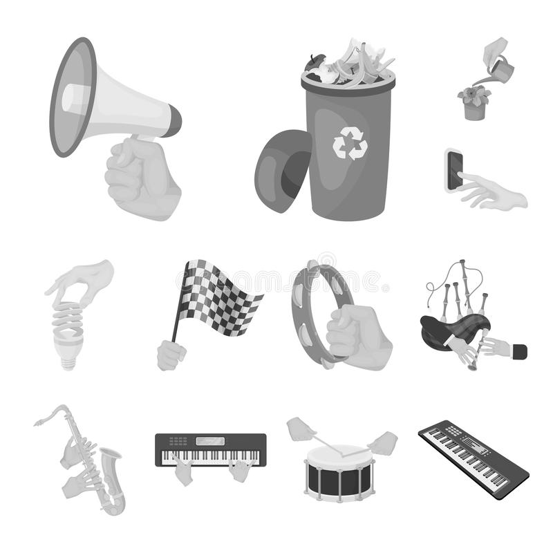 Manipulation by hands monochrome icons in set collection for design. Hand movement vector symbol stock web illustration. Manipulation by hands monochrome icons stock illustration