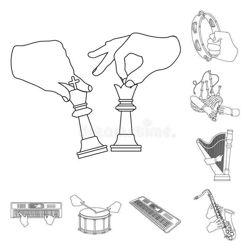 Manipulation by hands outline icons in set collection for design. Hand movement vector symbol stock web illustration. Manipulation by hands outline icons in set stock illustration