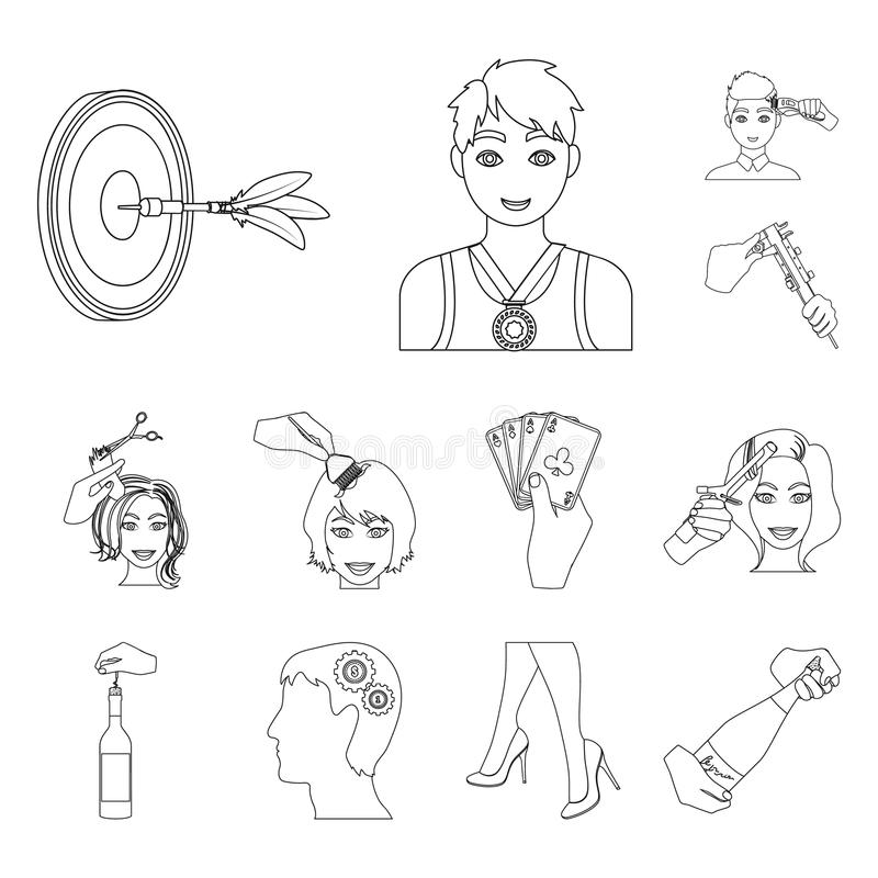 Manipulation by hands outline icons in set collection for design. Hand movement vector symbol stock web illustration. Manipulation by hands outline icons in set royalty free illustration