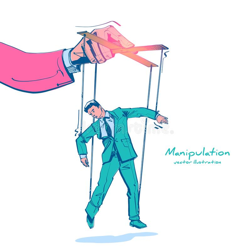 Manipulation sketch drawing. Worker on ropes. Abuse of power. Vector illustration flat cartoon. Hand of puppeteer holding a little businessman on a leash stock illustration