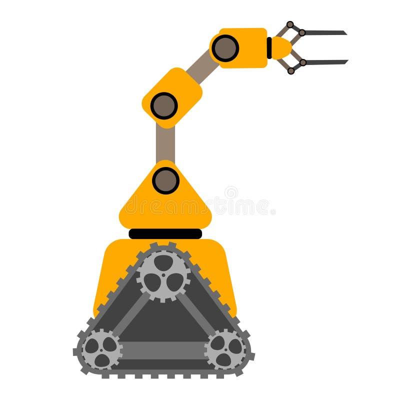 Manipulatorroboter auf Gleiskettenfahrzeugarm stockbild