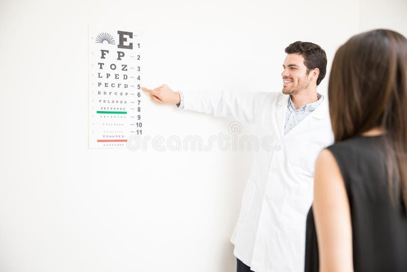 Manipulera att göra ögonprovet av kvinnapatienten i laboratorium royaltyfri fotografi