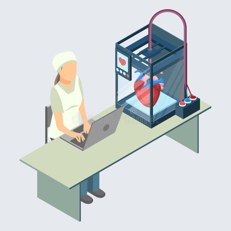 Manipulera att skapa konstgjord mänsklig hjärta på skrivaren 3D i laboratorium stock illustrationer