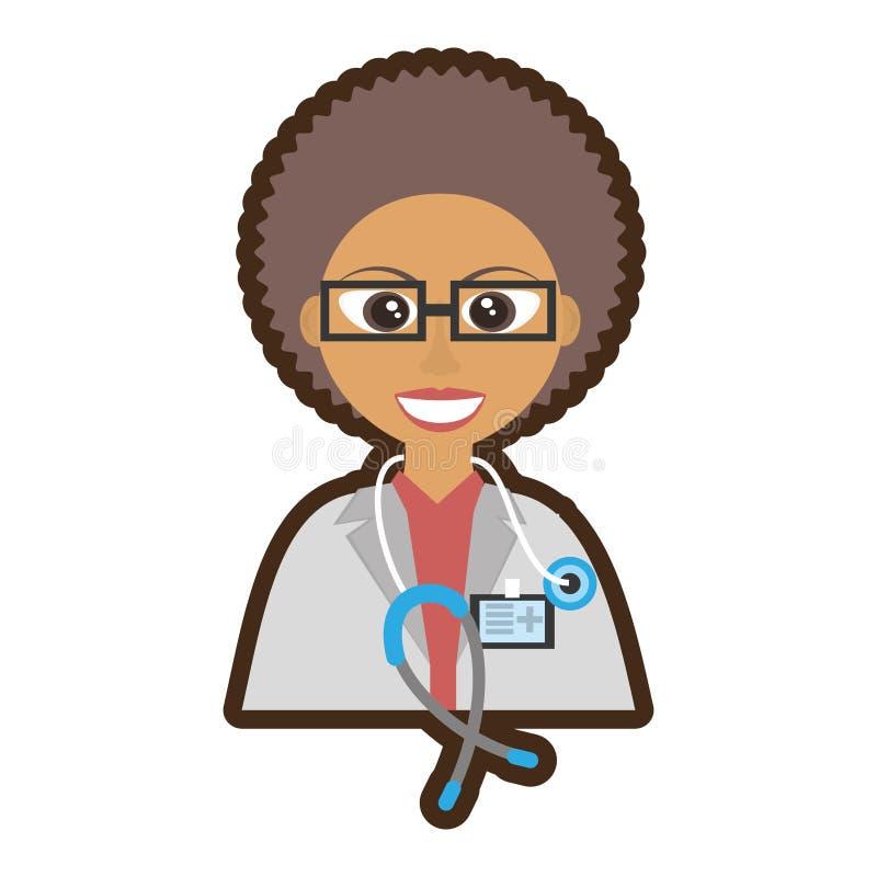 manipulera den kvinnliga stetoskopet för lockigt hår och ID-kortet vektor illustrationer