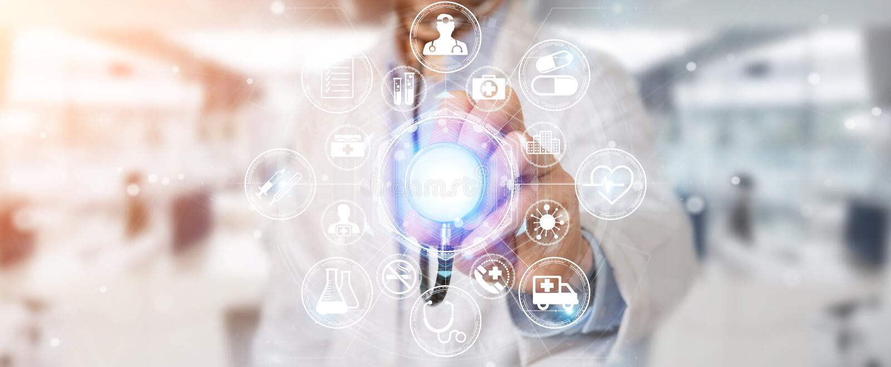Manipulera genom att använda den digitala medicinska futuristiska tolkningen för manöverenheten 3D stock illustrationer