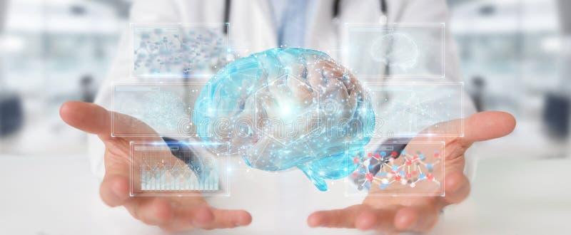 Manipulera genom att använda den digitala tolkningen för hologrammet 3D för hjärnbildläsningen stock illustrationer