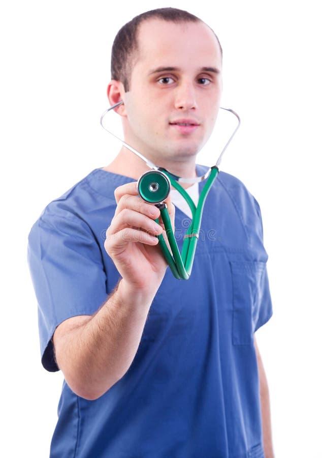 Manipulera genom att använda ett stetoskop royaltyfria bilder