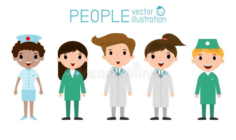 Manipulera och vårda läkarundersökningen, doktorn och det medicinska laget stock illustrationer