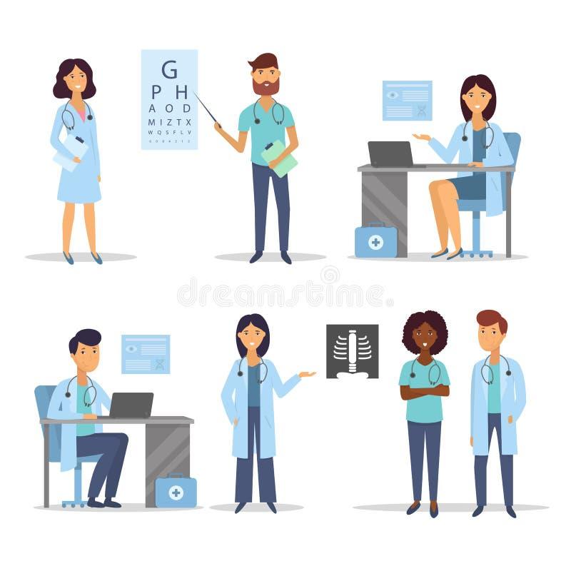Manipulerar och sjuksköterskor medicinsk personal Begrepp för medicinskt lag Plant designfolktecken vektor royaltyfri illustrationer
