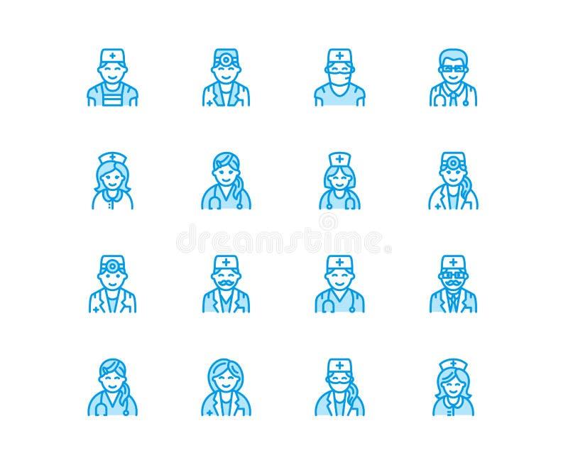 Manipulerar yrken Medicinska ockupationer - kirurg, kardiolog, tandläkareterapeut, läkare, sjuksköterskaallmäntjänstgörande läkar stock illustrationer