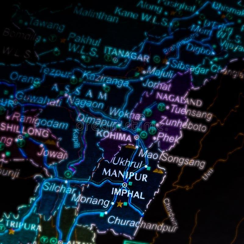 manipur city name i Indien som visar på en geografisk platskarta arkivbilder