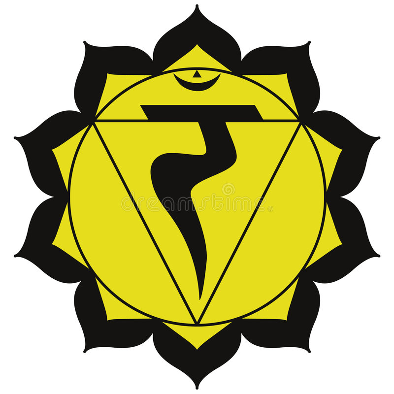 Manipura chakra. Manipura (also Nabhi) or the solar plexus chakra is related to the transition from simple or base to complex emotion, energy, assimilation and vector illustration