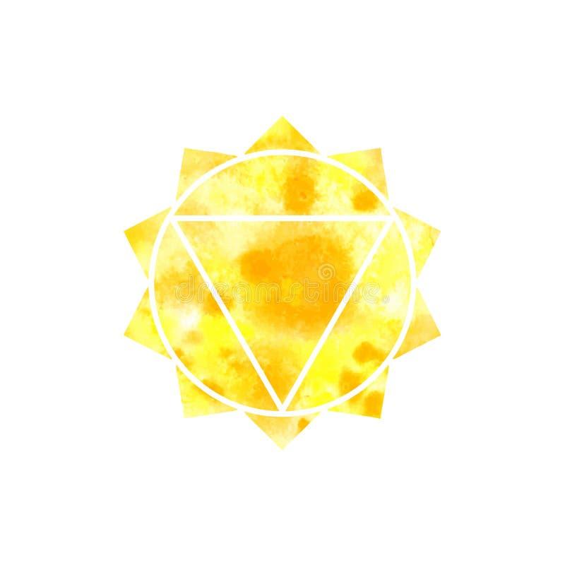 Manipura Chakra Heilige Meetkunde Één van de energiecentra in het menselijke lichaam Het voorwerp voor ontwerp voorgenomen voor y vector illustratie