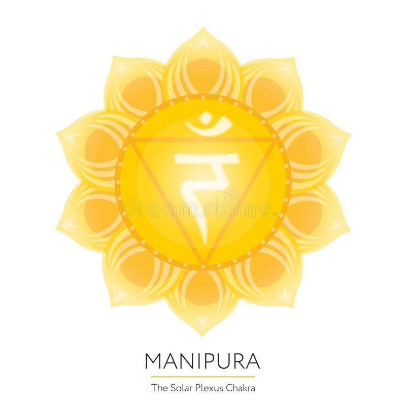Manipura. Chakra vector isolated. Yellow colored icon - for yoga studio, banner, poster, symbol used in Hinduism, Buddhism and Ayurveda. Editable concept stock illustration