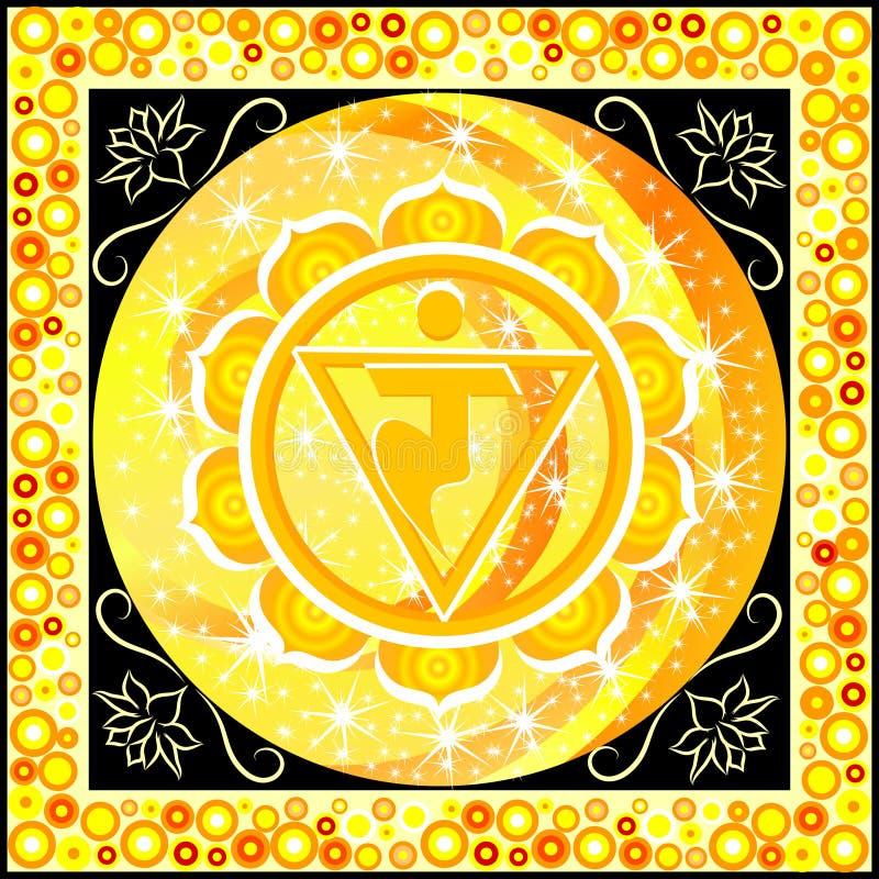 Manipura chakra. Yellow manipura chakra vector illustration royalty free illustration
