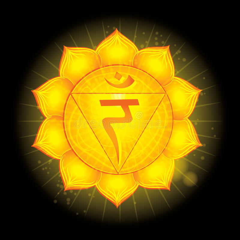Manipura. Glowing chakra icon . The concept of chakras used in Hinduism, Buddhism and Ayurveda. For design,. Solar plexus Chakra (Manipura). Glowing chakra icon stock illustration