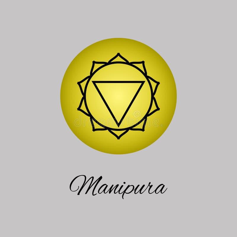 Manipura.Solar plexus chakra.Third Chakra symbol of human. Vector illustration. Element human energy system. Yoga,meditation,reiki and buddhism color simbol vector illustration