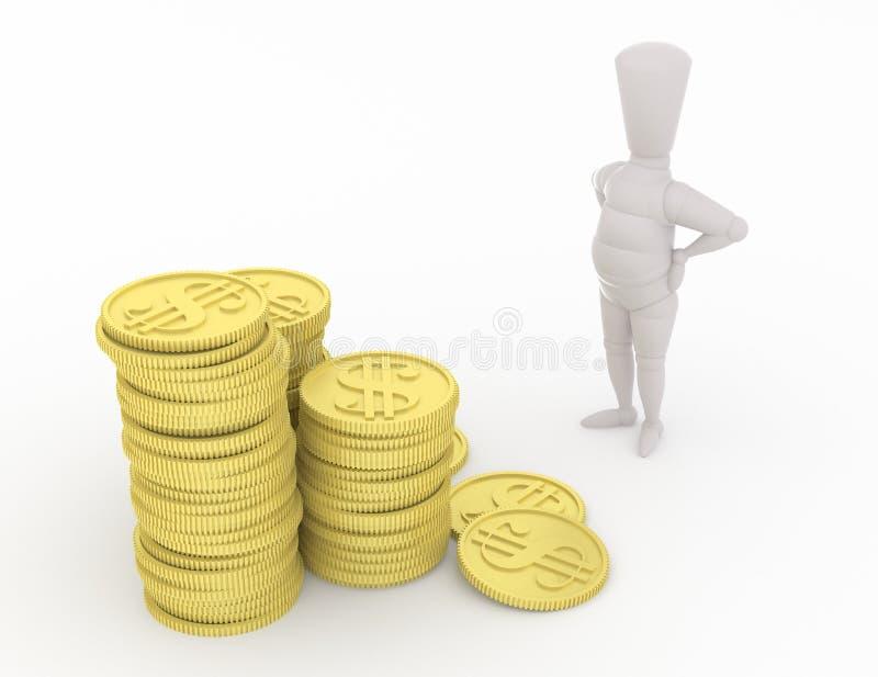 maniquí 3D que mira el dinero stock de ilustración