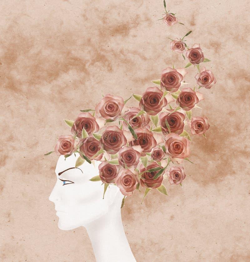 Maniquí andrógino hermoso stock de ilustración