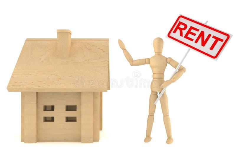Maniquí con la casa y la bandera del alquiler ilustración del vector