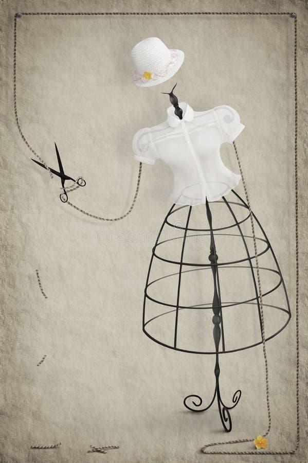 Maniquí con las tijeras libre illustration
