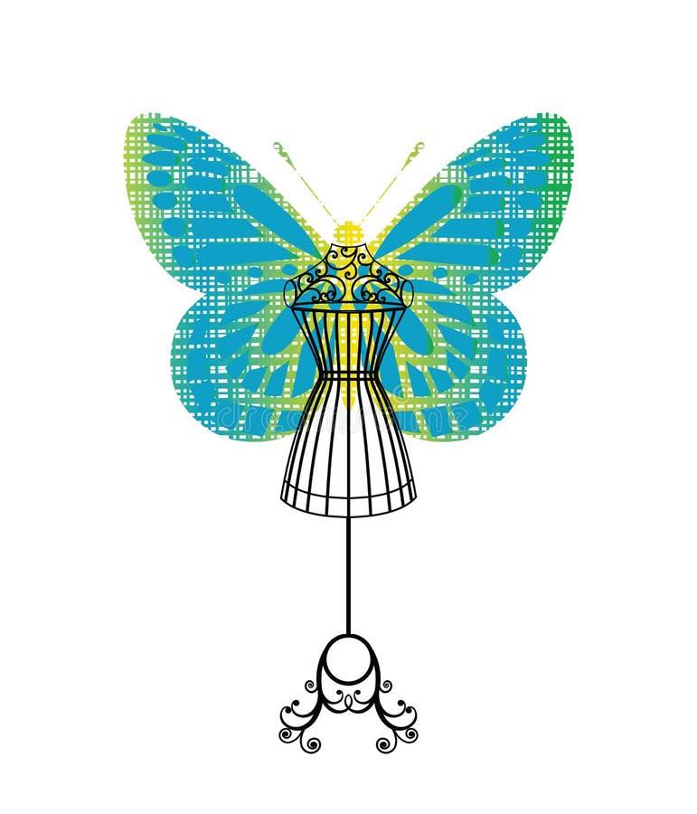 Maniquí de Bodyform con la mariposa ilustración del vector