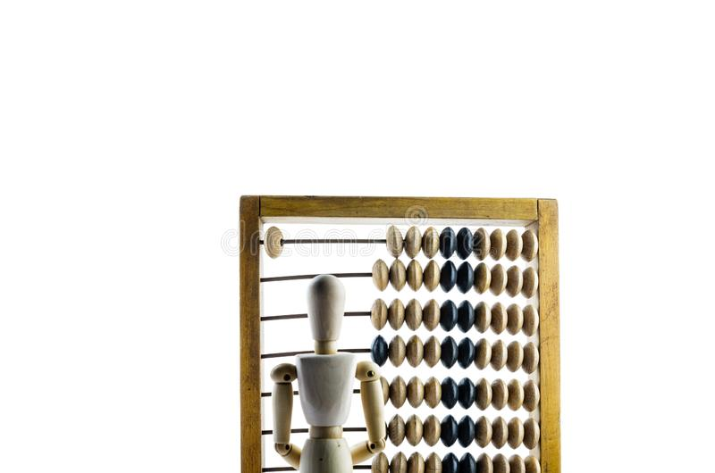 Maniquí de madera con el ábaco de madera fotografía de archivo libre de regalías