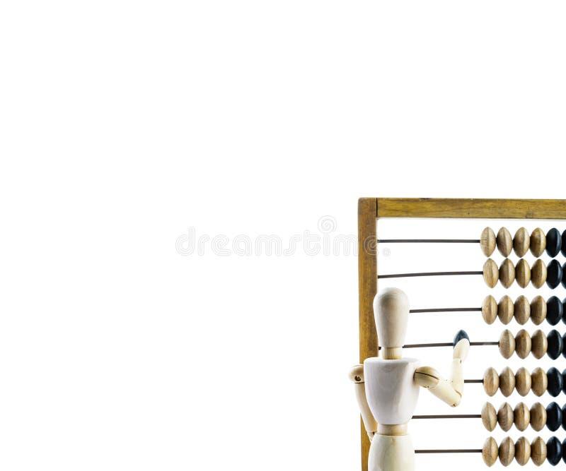 Maniquí de madera con el ábaco de madera fotografía de archivo