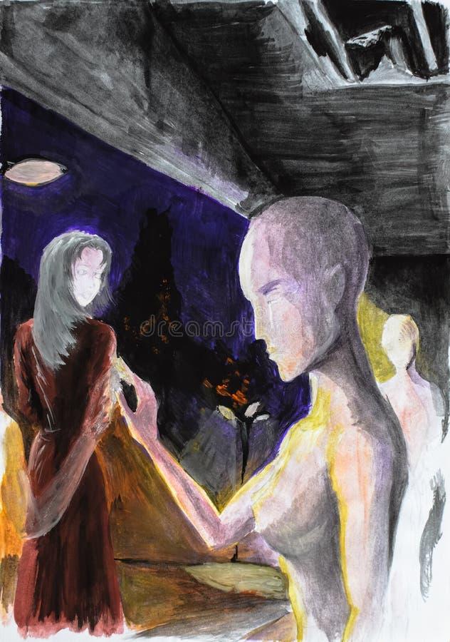 Maniquí desnudo de la muchacha con los pechos grandes que se colocan en el podio la gente camina pasado y mirada en el maniquí stock de ilustración