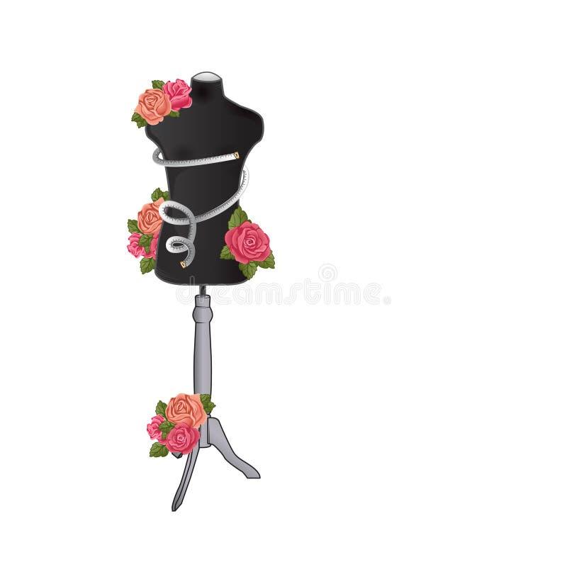 Maniquí para la ropa de costura con las flores y la cinta métrica stock de ilustración